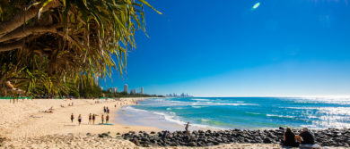 Gold Coast, Aus July 8 2018: Gold Coast Skyline And Surfing Be