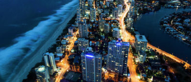 Aerial View Of Gold Coast At Night Nick